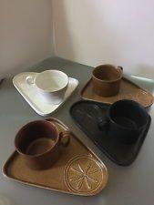 Vtg 4 Bennington Pottery Cups & Snack Plates David Gil Mid Century Eames Era
