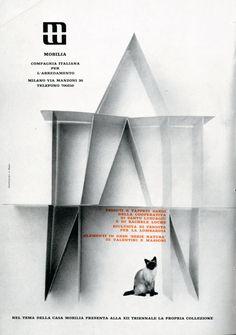 Giulio Confalonieri/Ilio Negri  Pagina pubblicitaria per Mobilia compagnia italiana per l'arredamento