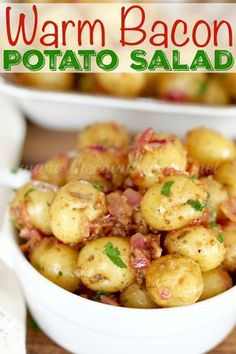 Warm Bacon Potato Salad is a simple German style potato salad that has the best vinaigrette dressing and packed with bacon and other amazing flavors!