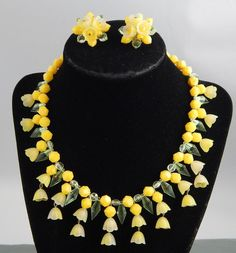 Vintage Western Germany Yellow Celluloid Flower Bead Necklace & Earring Set