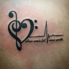 Image result for music heartbeat tattoo