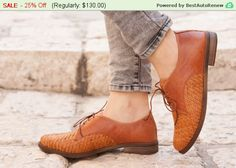 Christmas Sale 25% Off Camel Leather Shoes Woven by BangiShop