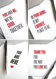 Typographic Valentine's Day sentiments from Red Letter Paper Company
