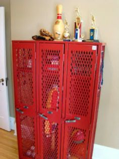 Great closet space for a baseball room with no closets