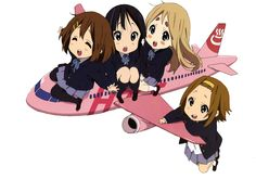 K-ON AIRLINES, KEION AIRLINE, YUI, MIO, MUGI, RITSU, CHIBI, CHIBIS, TRANSPARENT, ANIME