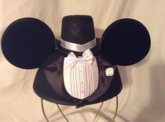 Mickey Mouse Groom Tuxedo Ears Hat Disneyland Adult Size | eBay