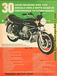 1977 Moto Guzzi 850-T3 FB ''30 Reasons'' Ad