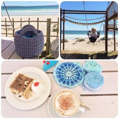 Wednesday spoil at Marc's Beach Bar #langebaanlagoon . And very slow progress on the Intarsia/Overlay Crochet Mandala by crochetinpaternoster