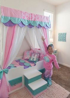 Mermaid Bed Mermaid Canopy Bed Girls Bed Toddler Twin or Full Mermaid Bedding Canopy Top Personalized Step Princess Bed Pink Bed