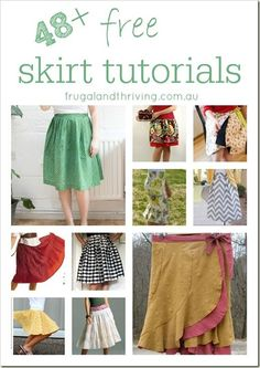 If you're wanting to start sewing clothes, then a skirt is a nice and easy garment to start with. Here is a list of skirt tutorials that cover a range of styles, sewing techniques, difficulty levels and funky inspiration ideas. Sewing Patterns Free, Free Sewing, Clothing Patterns, Diy Clothing, Sewing Clothes, Barbie Clothes, Sewing Hacks, Sewing Tutorials, Sewing Tips
