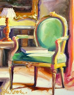 FRANSE STOEL Original painting of French Chair by CECILIA ROSSLEE