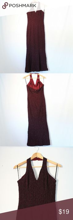 Vintage Glam Halter Dress Details: Vintage burgundy/wine glam mermaid style formal dress with black sequin embroidery all over and halter neckline  Brand: POLY  Size: Small  Measurements: Bust/32 inches  Waist/28 inches Hips/38 inches Length/48-54 (with straps) inches  Condition: Gently used, has a small stain Dresses
