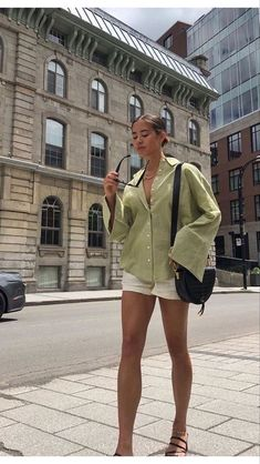 Looks Street Style, Looks Style, Spring Summer Fashion, Spring Outfits, Trendy Summer Outfits, Vintage Summer Outfits, Green Outfits, Spring Summer Trends, Summer Fashion Outfits