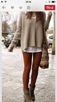 I would wear the whole outfit like this. Casual and simple. Love this sweater!