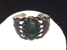 VINTAGE FRED HARVEY ERA GREEN TURQUOISE BRACELET SILVER PRODUCTS COIN SILVER #SILVERPRODUCTS