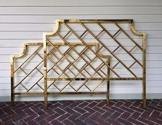 Brass Queen Chippendale Bedframe, Hollywood Regency, Mid Century, Faux Bamboo Headboard and Footboard by wolfeDENcollective on Etsy https://www.etsy.com/listing/522613337/brass-queen-chippendale-bedframe