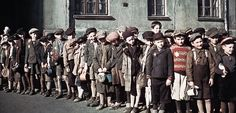Lodz, Poland, Children standing in line for food. 400 color images of the Lodz ghetto, taken by Walter Genewein. Warsaw Ghetto, Spiegel Online, Persecution, World War Two, Historical Photos, Wwii, Images, Germany, Forget