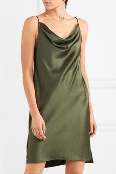Olive satin Slips on 75% triacetate, 25% polyester Dry clean Imported