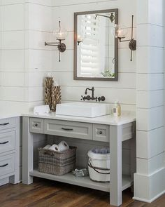 Bathroom Vanity Under $100 by combining simple lines and stained-pine construction with a