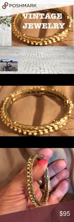 VTG PEARL HINGED BRACELET This stunning hinged bracelet is composed of tiny seed pearls set in a FILAGREE gold tone with an intact safety chain. Unmarked but quite old and in perfect condition. Classic elegance! Fits size6-7 wrist. Better photos to follow. Gives the appearance of 18K gold. Any questions please ask! Trades. Offers welcome and remember to bundle for additional savings! Tx for browsing! Marian Vintage Jewelry Bracelets