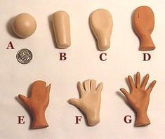 Photo tutorial on making hands for polymer clay dolls or art figures. Tutoriel photo s Polymer Clay Kunst, Polymer Clay Dolls, Polymer Clay Projects, Polymer Clay Charms, Polymer Clay Creations, Clay Crafts, Polymer Clay People, Polymer Clay Disney, Polymer Clay Figures