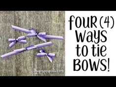 Four Ways to Tie Bows! - The Paper Pixie Tie Bows With Ribbon, How To Tie Ribbon, How To Make Bows, Tie A Bow, Ribbons, Card Making Tips, Card Making Techniques, Making Ideas, Bow Making Tutorials