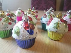 (12) DELUXE CHRISTMAS Tree Decoration Ornaments - 12 CUPCAKE BAUBLES great item!