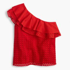 J.Crew Womens One-Shoulder Ruffle Top In Eyelet (Size 6)