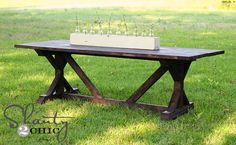 gorg. outdoor table. buy it for 2,000 from anthropologie, or make it for $65.00! love this blog, such great projects.