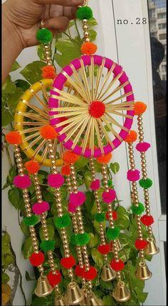 Door Hanging Decorations, Diy Diwali Decorations, Festival Decorations, Paper Decorations, Flower Decorations, Cd Crafts, Diy Crafts For Gifts, Diy Home Crafts, Diy Arts And Crafts