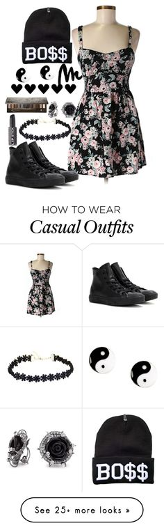"""Casual"" by chap15906248 on Polyvore featuring Yves Saint Laurent, Band of Gypsies, Converse, Jon Richard, Urban Decay and claire's"