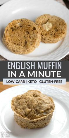 Miss bread with breakfast? It only takes a couple minutes to make a paleo English muffins in a minute. And they are low carb and grain free! | LowCarbYum.com Lowest Carb Bread Recipe, Low Carb Bread, Keto Bread, Low Carb Keto, Low Carb Recipes, Bread Recipes, Low Carb English Muffin, Gluten Free English Muffins, Best Diabetic Diet