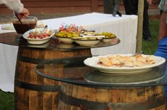 Hors d'oeuvres are often served atop our whiskey barrels, which are also used for tables for guest use.