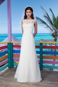 2014 High Neck Sheath/Column Wedding Dress Ruffled Pick Up Organza Skirt White USD 189.99 BPPHBC5DMB - BrandPromDresses.com