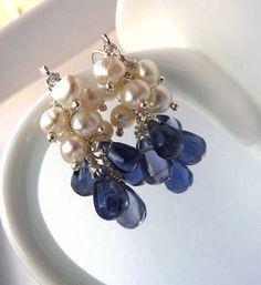 Ivory Freshwater Pearl Cluster Earrings. Denim Iolite Drop