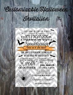 Halloween Party Invitation-Printable Halloween Invitation- Chevron Spiderweb and Bats FeatheredHeartPrints