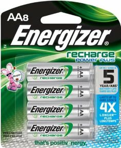For Mitchell: Energizer Rechargeable Batteries, AA Size, 8-Count (to go with universal battery charger)