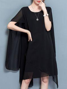 Casual Women O-Neck Cloak Chiffon Dresses