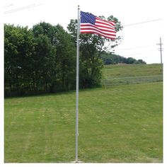 72ff58823 Heavy Duty 20ft Residential flagpole with Valley Forge nylon flag Flag Pole  Kits