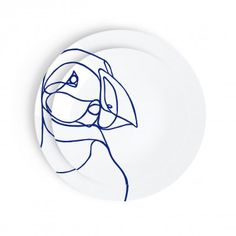 Design Plate puffin Porcelain Plate from Arctic Beasts Limoges Collection PUFFIN Porcelain Plate Set / Tes-Ted X Esprit Porcelaine http://tes-ted.com/product-category/art-de-la-table/