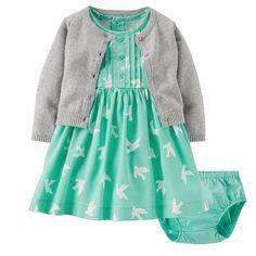 Little Girl Fashion, Kids Fashion, Bebe Love, Outfits Niños, Carters Baby Girl, Baby Girls, Dress With Cardigan, Knit Cardigan, Grey Cardigan
