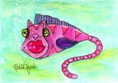 NFAC NOV- Catfish - ACEO Mixed Media OOAK by Robin Jayne  #OutsiderArt