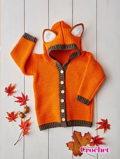 Simply Crochet 52 - This fab fox cardigan is perfect for your little ones woodland walks, in sizes for 2,4 and 6 year olds.