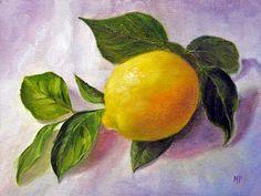 Marina Petro ~ Adventures In Daily Painting: Lemon-Still Life Fruit Oil Painting by Marina Petro