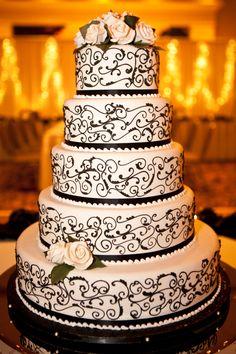 Black and white themed wedding cake.