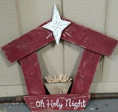 Oh holy night pallet nativity. The first king size bed. Christmas Wood Crafts, Pallet Christmas, Nativity Crafts, Christmas Nativity, Primitive Christmas, Outdoor Christmas, Rustic Christmas, Christmas Art, Christmas Projects