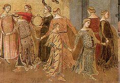 """Allégorie du Bon Gouvernement dans la ville, 1337-1339, Ambrogio Lorenzetti (Sienne, Palais Public). Les neuf danseuses qui dominent par leur taille les autres personnages, sont certainement emblématiques. Bien que certains historiens de l'art aient considéré que ces figures étaient de sexe masculin et leurs robes fantastiques le signe d'une mascarade, peut-être faut-il voir en elles les """"filles des Neuf"""". Leur danse est sans aucun doute ici une sorte de sublimation de la Paix."""