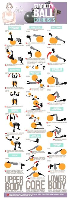 If you only use a stability ball for crunches or comfort to sit on, then try and enjoy a new way to adjust traditional exercises into multi-muscle movers that will benefit your body and give you satisfying results.Below is a workout compiled to give you enough to learn new techniques and feel the difference!