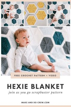 New from Make & Do Crew: This modern join as you go crochet hexagon blanket pattern is a great way to use up scraps. Perfect for a baby blanket (DIY baby shower gift idea!) or throw blanket. Pop this portable project in your purse or work on it during your lunch break. You'll be cranking out these addictive little hexies in no time. Free pattern featuring Lion Brand Feels Like Butta with step-by-step tutorial including photos and video. Crochet Hexagon Blanket, Crochet Afghans, Diy Crochet, Make And Do Crew, How To Make, Modern Crochet Patterns, Lion Brand, Diy Baby, Crochet Projects