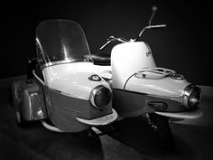 Legendary #scooter CZ-The Pig with sidecar  #iphoneography #shotoniphone #blackandwhite #monochrome #igerscz #iglife #iglifecz